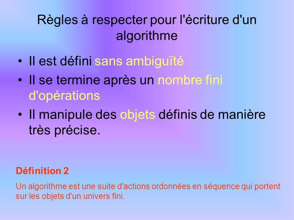 Règles à respecter pour l'écriture d'un algorithme Il est défini sans ambiguïté Il se termine après un nombre fini d'opérations Il manipule des objets