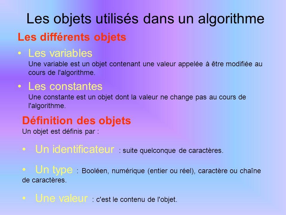Les objets utilisés dans un algorithme Les différents objets Les variables Une variable est un objet contenant une valeur appelée à être modifiée au c