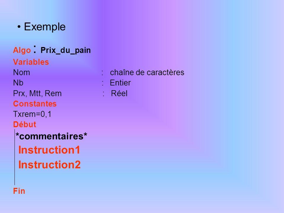 Exemple Algo : Prix_du_pain Variables Nom : chaîne de caractères Nb : Entier Prx, Mtt, Rem : Réel Constantes Txrem=0,1 Début *commentaires* Instructio