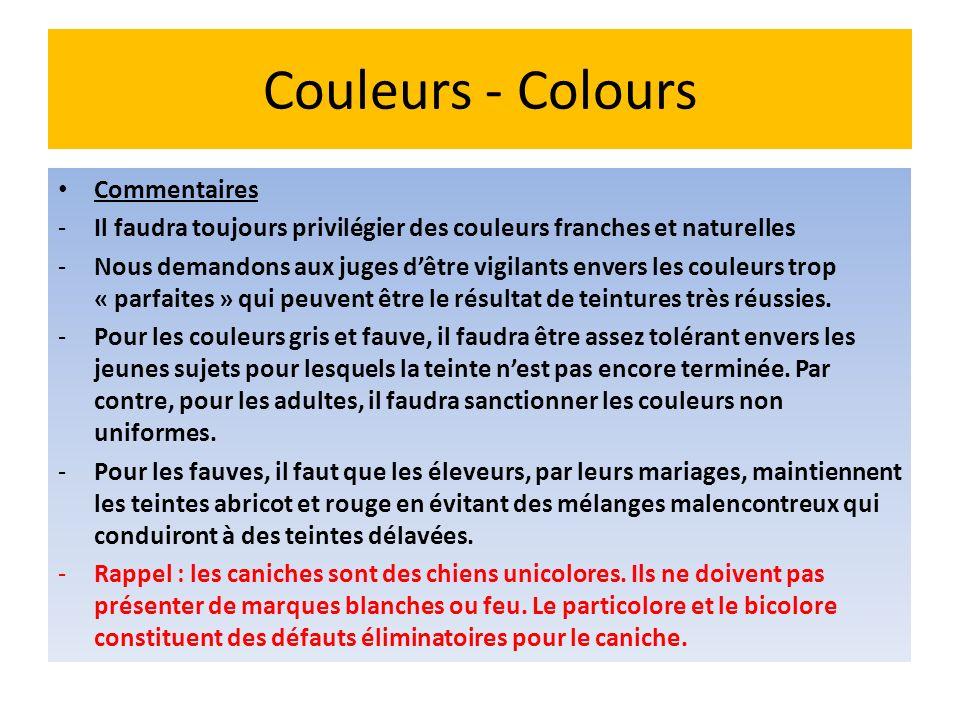 Couleurs - Colours Commentaires -Il faudra toujours privilégier des couleurs franches et naturelles -Nous demandons aux juges dêtre vigilants envers l