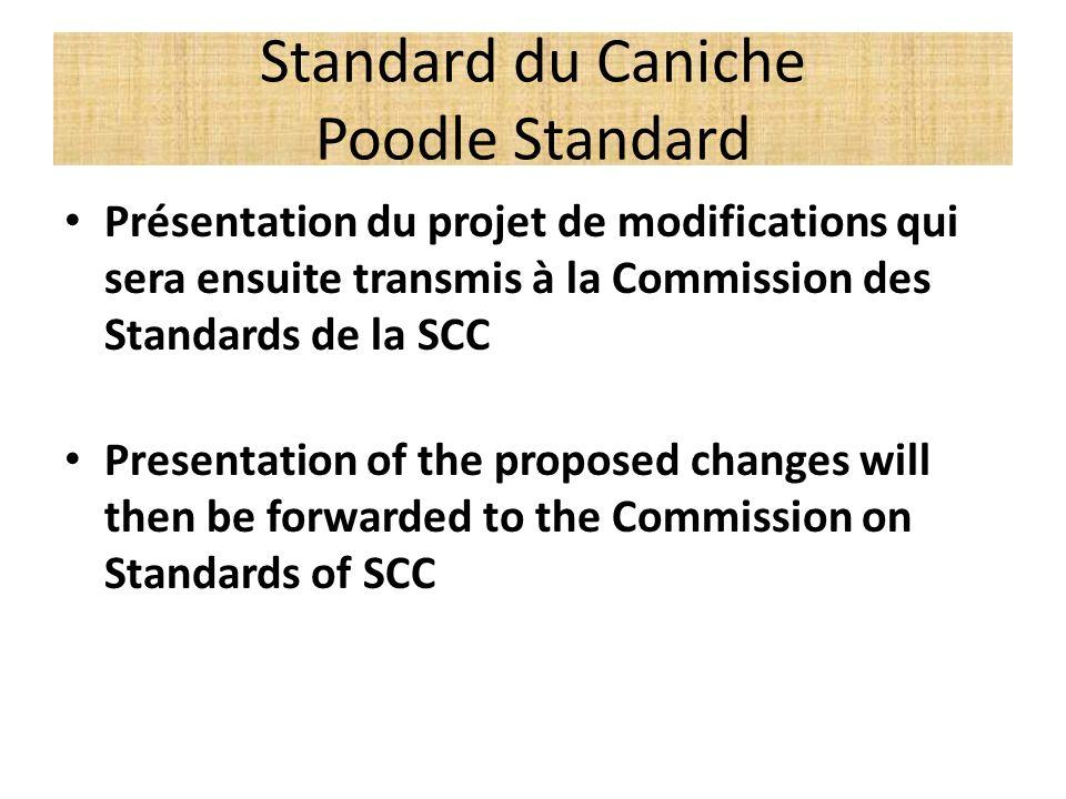 Standard du Caniche Poodle Standard Présentation du projet de modifications qui sera ensuite transmis à la Commission des Standards de la SCC Presenta