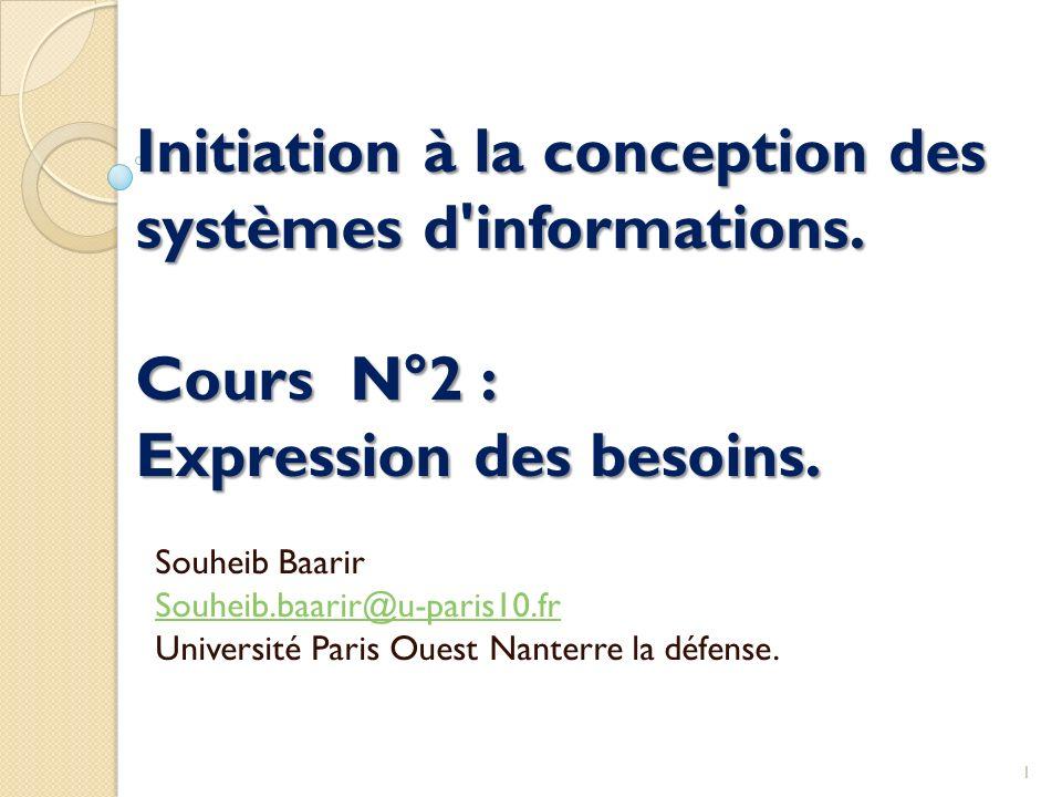 Initiation à la conception des systèmes d'informations. Cours N°2 : Expression des besoins. Souheib Baarir Souheib.baarir@u-paris10.fr Université Pari