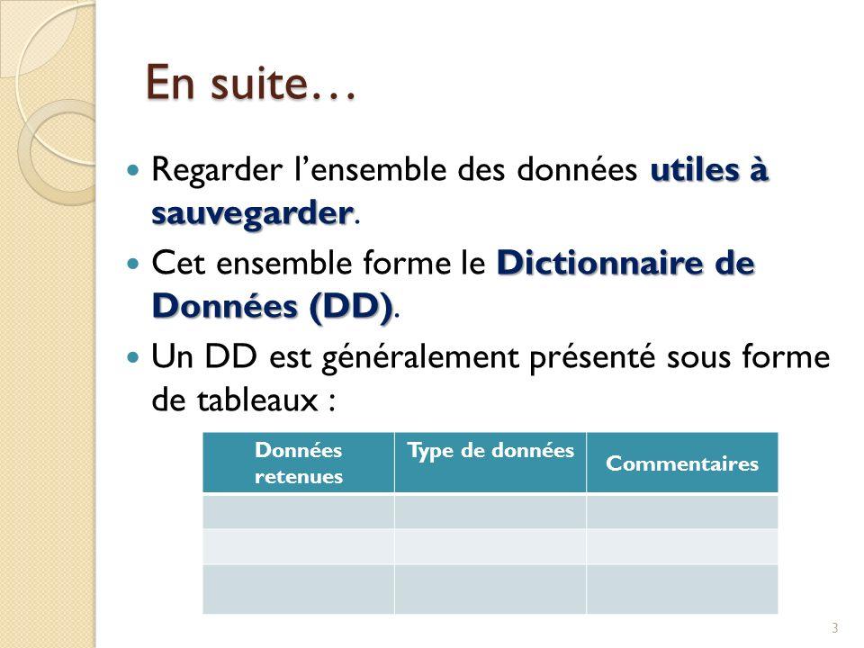 utiles à sauvegarder Regarder lensemble des données utiles à sauvegarder. Dictionnaire de Données (DD) Cet ensemble forme le Dictionnaire de Données (