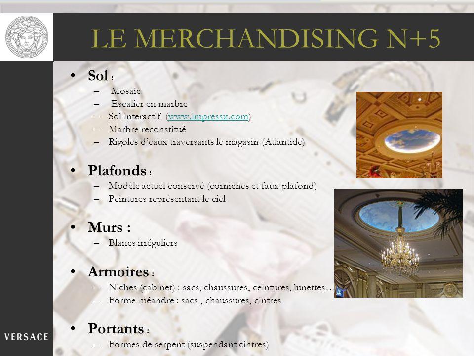 LE MERCHANDISING N+5 Sol : – Mosaic – Escalier en marbre –Sol interactif (www.impressx.com)www.impressx.com –Marbre reconstitué –Rigoles deaux travers