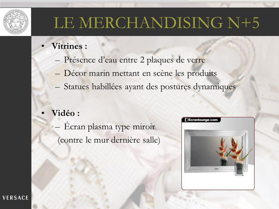 LE MERCHANDISING N+5 Vitrines : –Présence deau entre 2 plaques de verre –Décor marin mettant en scène les produits –Statues habillées ayant des postur