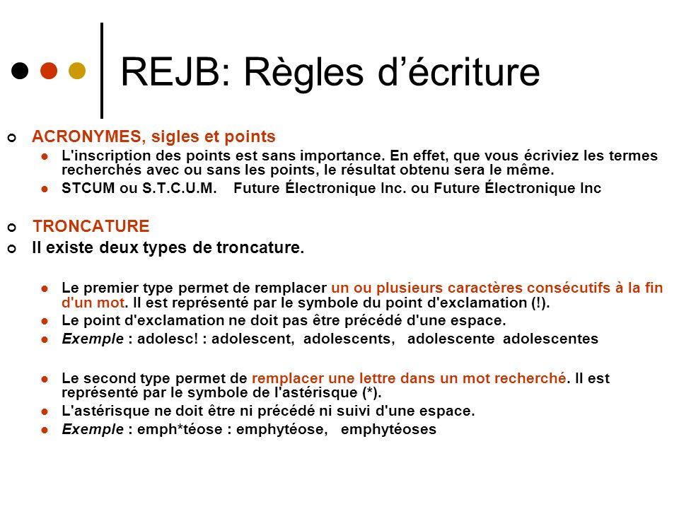 REJB: Règles décriture ACRONYMES, sigles et points L inscription des points est sans importance.