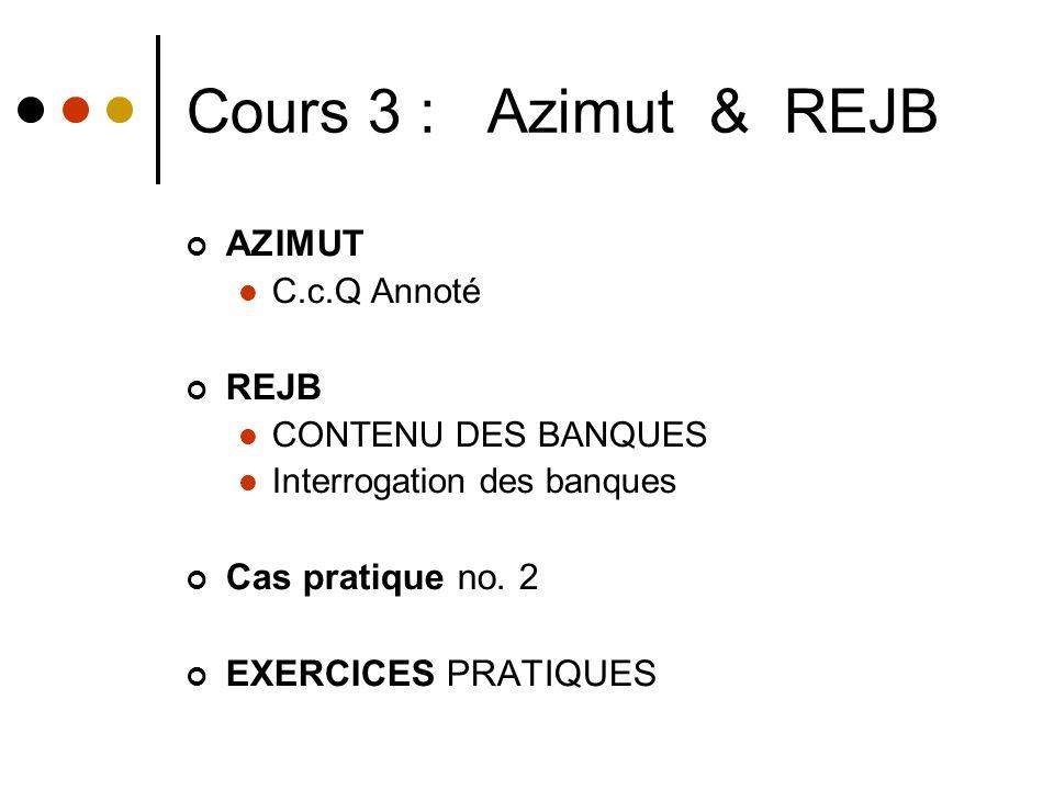 Cours 3 : Azimut & REJB AZIMUT C.c.Q Annoté REJB CONTENU DES BANQUES Interrogation des banques Cas pratique no.