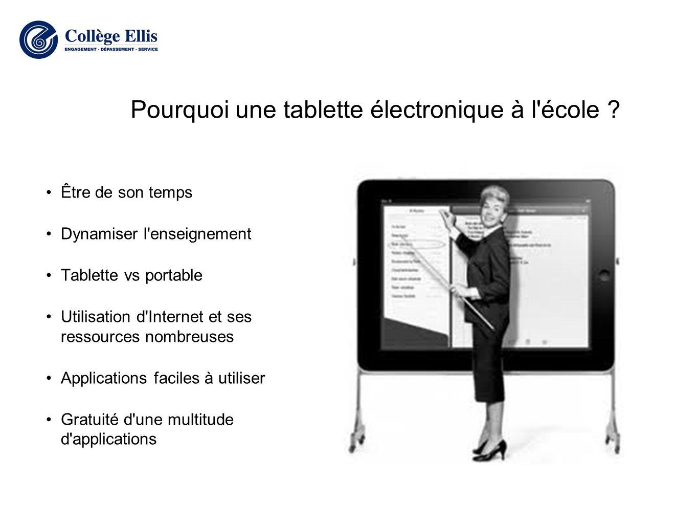 Pourquoi une tablette électronique à l école .