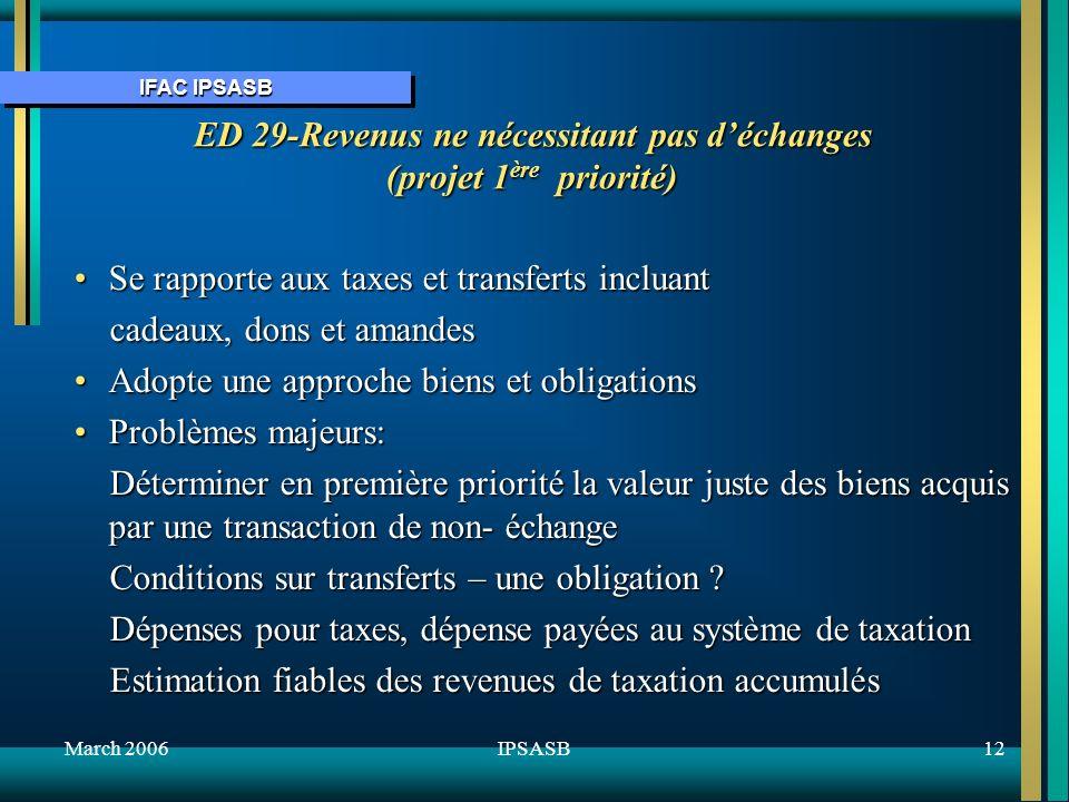 IFAC IPSASB March 200612IPSASB ED 29-Revenus ne nécessitant pas déchanges (projet 1 ère priorité) Se rapporte aux taxes et transferts incluantSe rapporte aux taxes et transferts incluant cadeaux, dons et amandes cadeaux, dons et amandes Adopte une approche biens et obligationsAdopte une approche biens et obligations Problèmes majeurs:Problèmes majeurs: Déterminer en première priorité la valeur juste des biens acquis par une transaction de non- échange Déterminer en première priorité la valeur juste des biens acquis par une transaction de non- échange Conditions sur transferts – une obligation .