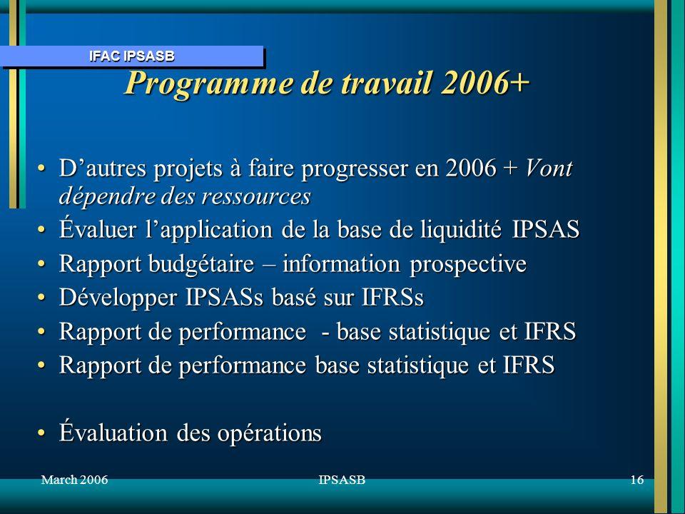 IFAC IPSASB March 200616IPSASB Programme de travail 2006+ Dautres projets à faire progresser en 2006 + Vont dépendre des ressourcesDautres projets à faire progresser en 2006 + Vont dépendre des ressources Évaluer lapplication de la base de liquidité IPSASÉvaluer lapplication de la base de liquidité IPSAS Rapport budgétaire – information prospectiveRapport budgétaire – information prospective Développer IPSASs basé sur IFRSsDévelopper IPSASs basé sur IFRSs Rapport de performance - base statistique et IFRSRapport de performance - base statistique et IFRS Rapport de performance base statistique et IFRSRapport de performance base statistique et IFRS Évaluation des opérationsÉvaluation des opérations
