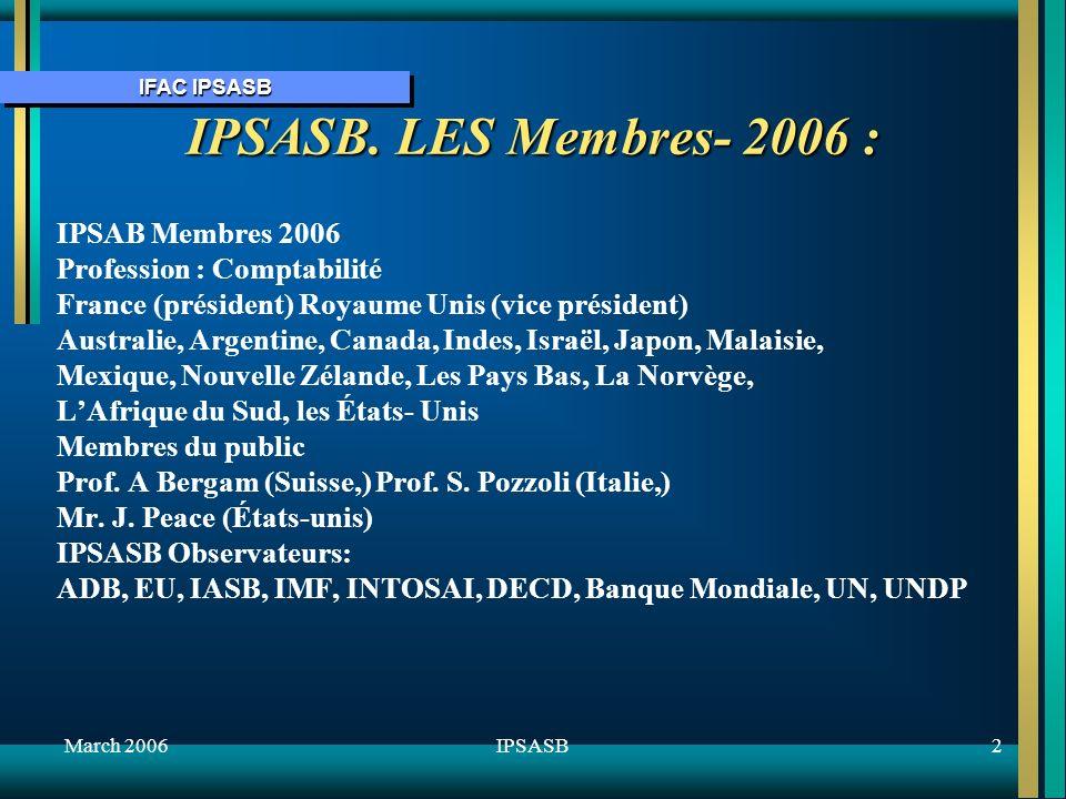 IFAC IPSASB March 20062IPSASB IPSASB.