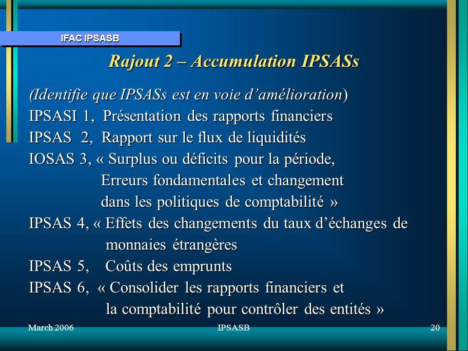 IFAC IPSASB March 200620IPSASB Rajout 2 – Accumulation IPSASs (Identifie que IPSASs est en voie damélioration) IPSASI 1, Présentation des rapports financiers IPSAS 2, Rapport sur le flux de liquidités IOSAS 3, « Surplus ou déficits pour la période, Erreurs fondamentales et changement Erreurs fondamentales et changement dans les politiques de comptabilité » dans les politiques de comptabilité » IPSAS 4, « Effets des changements du taux déchanges de monnaies étrangères monnaies étrangères IPSAS 5, Coûts des emprunts IPSAS 6, « Consolider les rapports financiers et la comptabilité pour contrôler des entités » la comptabilité pour contrôler des entités »