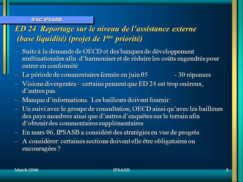 IFAC IPSASB March 20068IPSASB ED 24 Reportage sur le niveau de lassistance externe (base liquidité) (projet de 1 ère priorité) –Suite à la demande de OECD et des banques de développement multinationales afin dharmoniser et de réduire les coûts engendrés pour entrer en conformité –La période de commentaires fermée en juin 05 - 30 réponses –Visions divergentes – certains pensent que ED 24 est trop onéreux, dautres pas.