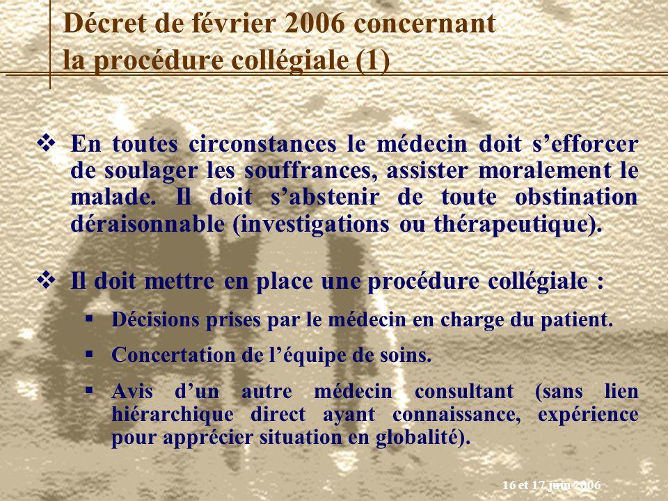 16 et 17 juin 2006 En toutes circonstances le médecin doit sefforcer de soulager les souffrances, assister moralement le malade. Il doit sabstenir de