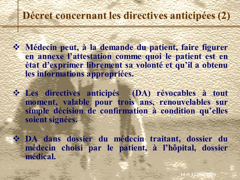 16 et 17 juin 2006 Médecin peut, à la demande du patient, faire figurer en annexe lattestation comme quoi le patient est en état dexprimer librement s