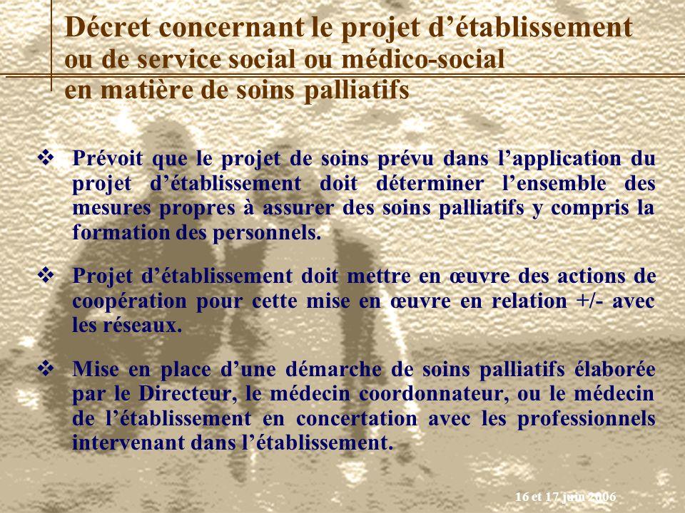 16 et 17 juin 2006 Décret concernant le projet détablissement ou de service social ou médico-social en matière de soins palliatifs Prévoit que le proj