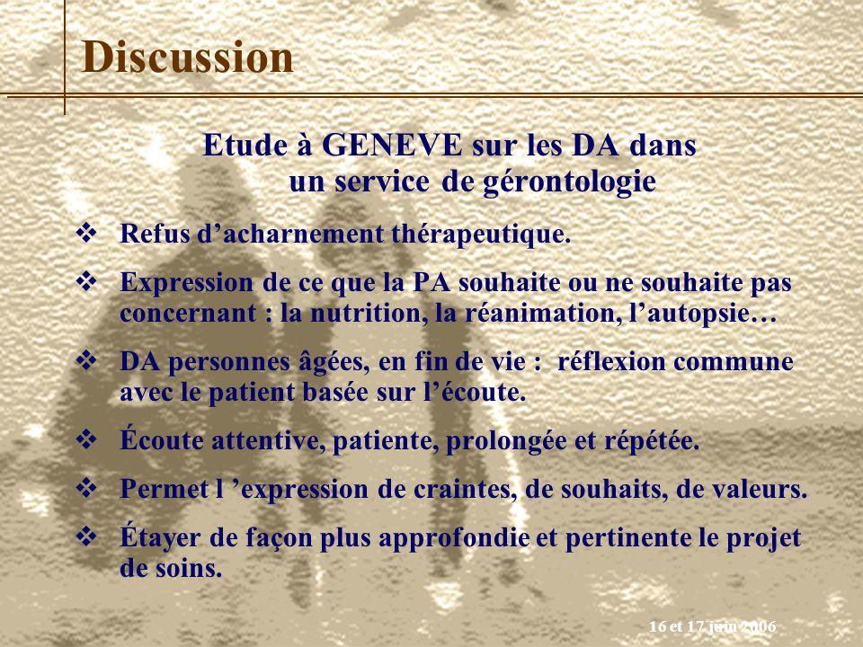 16 et 17 juin 2006 Discussion Etude à GENEVE sur les DA dans un service de gérontologie Refus dacharnement thérapeutique. Expression de ce que la PA s