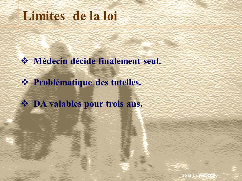 16 et 17 juin 2006 Limites de la loi Médecin décide finalement seul. Problématique des tutelles. DA valables pour trois ans.