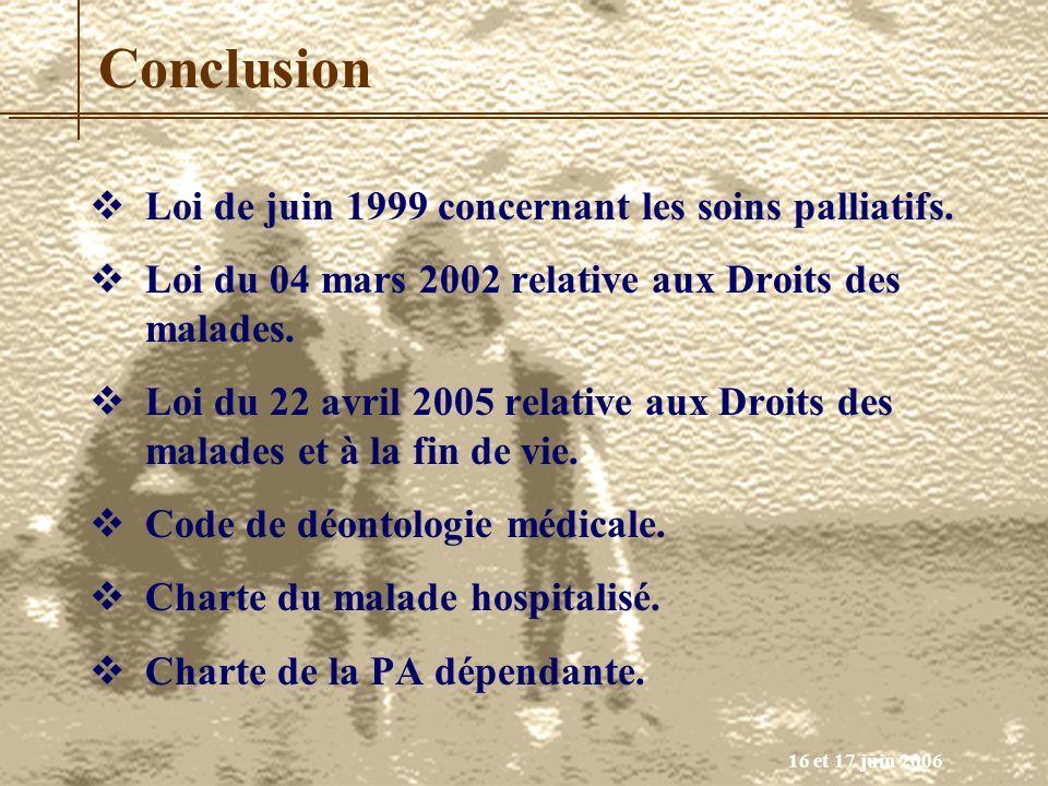 16 et 17 juin 2006 Conclusion Loi de juin 1999 concernant les soins palliatifs. Loi du 04 mars 2002 relative aux Droits des malades. Loi du 22 avril 2