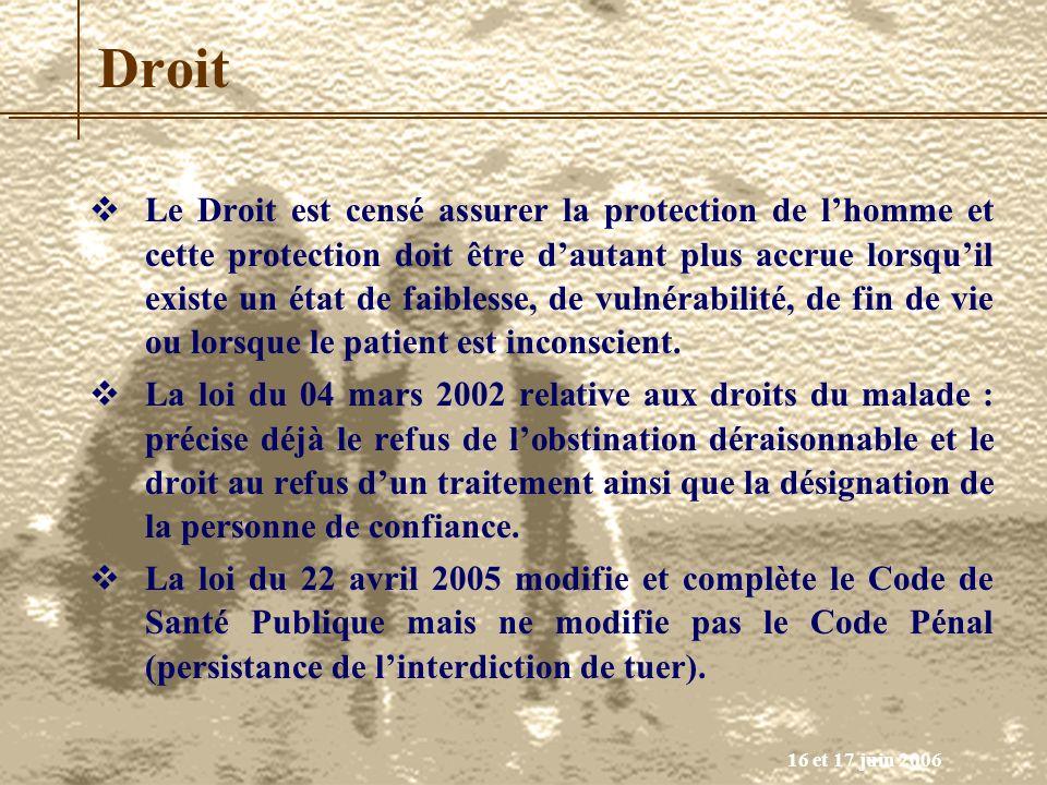 16 et 17 juin 2006 Droit Le Droit est censé assurer la protection de lhomme et cette protection doit être dautant plus accrue lorsquil existe un état
