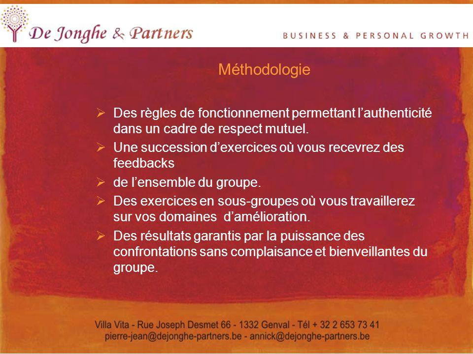 Méthodologie Des règles de fonctionnement permettant lauthenticité dans un cadre de respect mutuel. Une succession dexercices où vous recevrez des fee