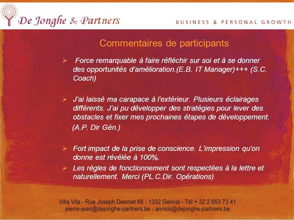 Commentaires de participants Force remarquable à faire réfléchir sur soi et à se donner des opportunités damélioration.(E.B. IT Manager)+++ (S.C. Coac