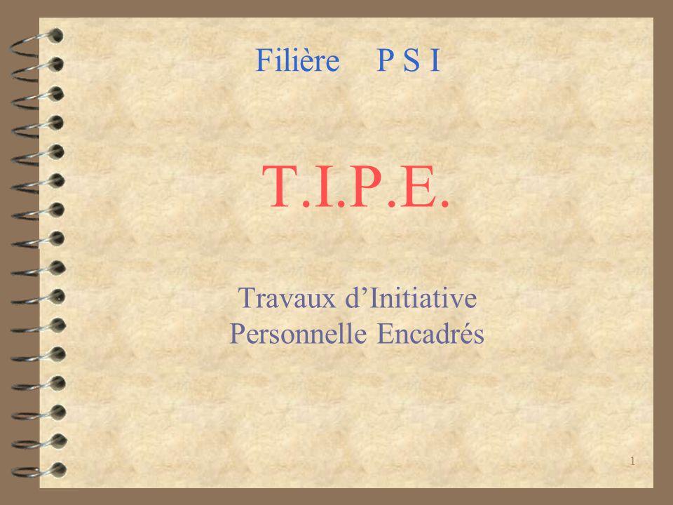 1 T.I.P.E. Travaux dInitiative Personnelle Encadrés Filière P S I