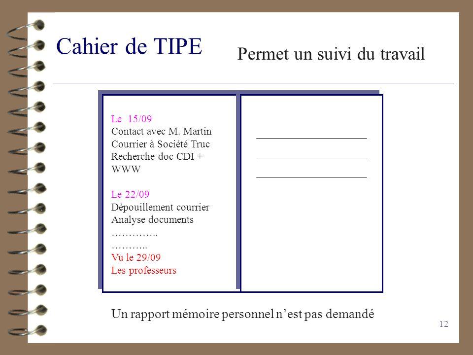 12 Cahier de TIPE Permet un suivi du travail Le 15/09 Contact avec M. Martin Courrier à Société Truc Recherche doc CDI + WWW Le 22/09 Dépouillement co