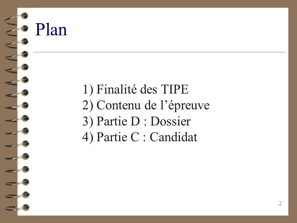 2 Plan 1) Finalité des TIPE 2) Contenu de lépreuve 3) Partie D : Dossier 4) Partie C : Candidat
