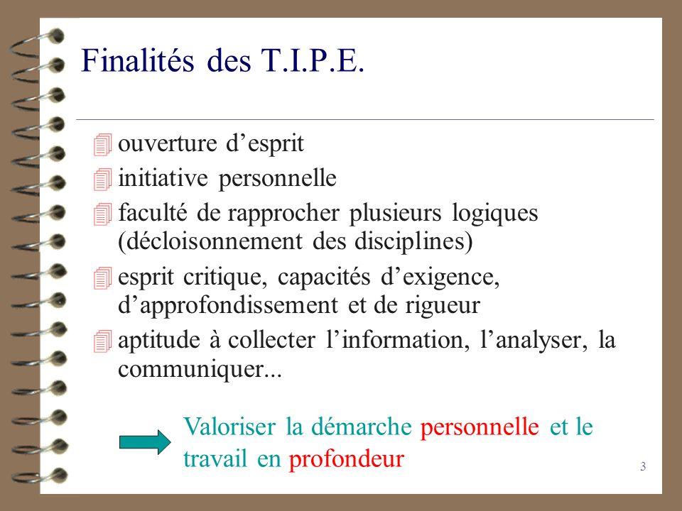 3 Finalités des T.I.P.E. 4 ouverture desprit 4 initiative personnelle 4 faculté de rapprocher plusieurs logiques (décloisonnement des disciplines) 4 e