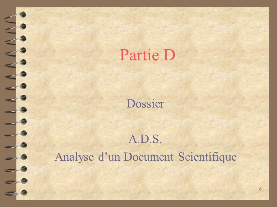 6 Partie D Dossier A.D.S. Analyse dun Document Scientifique