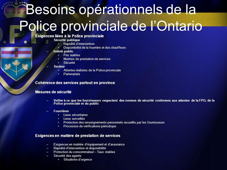 Besoins opérationnels de la Police provinciale de lOntario Exigences liées à la Police provinciale –Sécurité publique Rapidité dintervention Disponibi