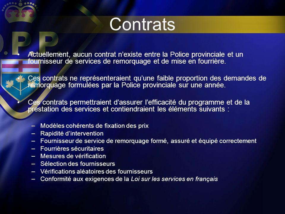 Contrats Actuellement, aucun contrat nexiste entre la Police provinciale et un fournisseur de services de remorquage et de mise en fourrière. Ces cont