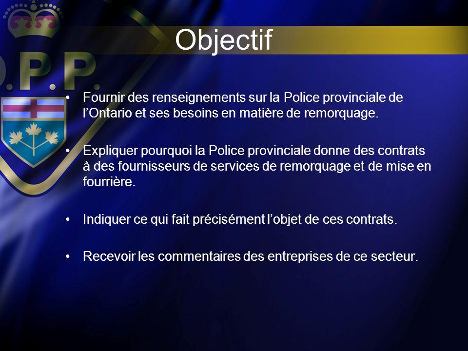 Objectif Fournir des renseignements sur la Police provinciale de lOntario et ses besoins en matière de remorquage. Expliquer pourquoi la Police provin