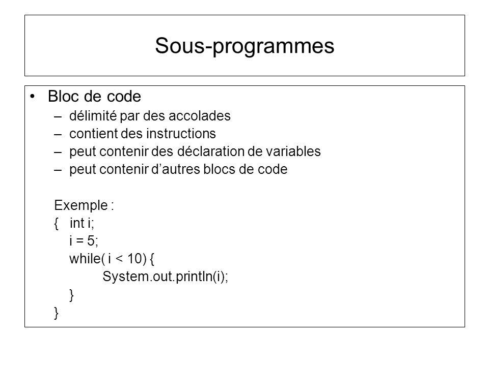 Bloc de code –délimité par des accolades –contient des instructions –peut contenir des déclaration de variables –peut contenir dautres blocs de code E