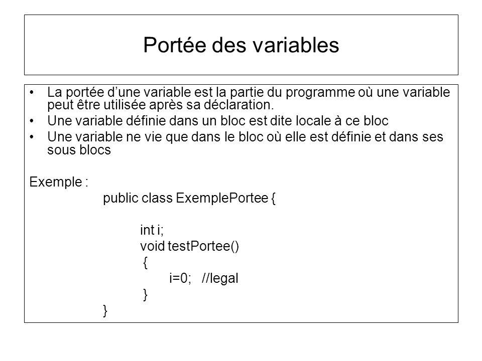 Portée des variables La portée dune variable est la partie du programme où une variable peut être utilisée après sa déclaration. Une variable définie