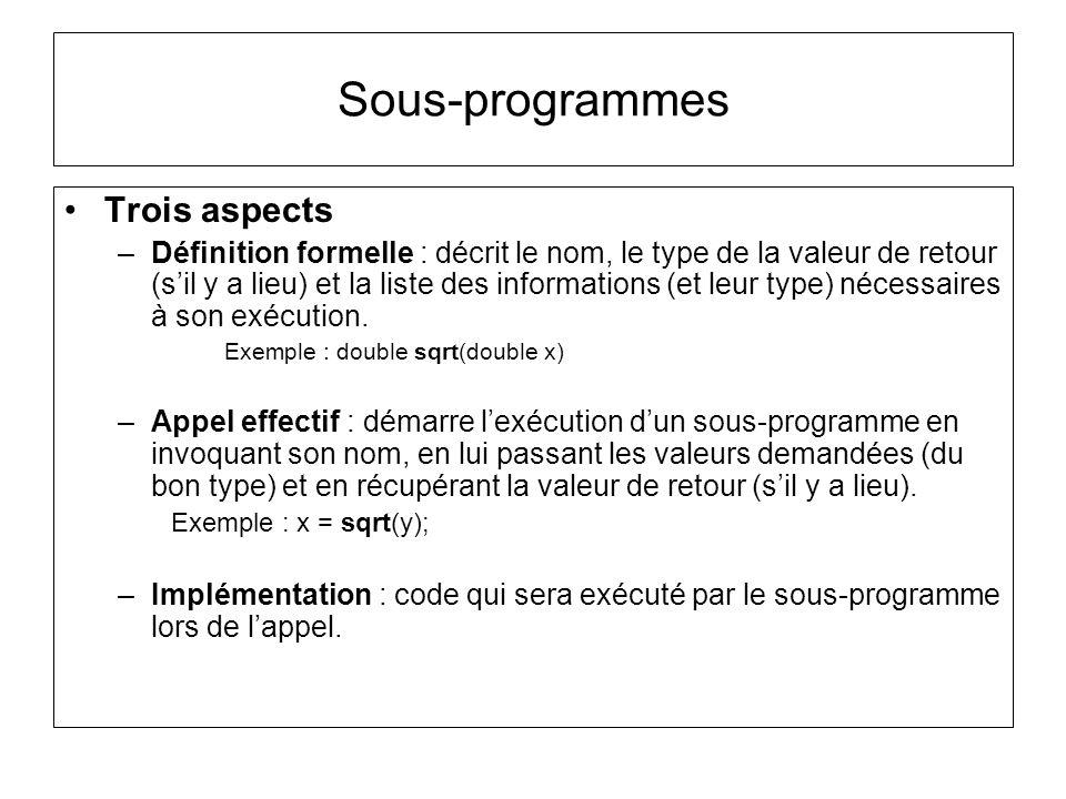 Sous-programmes Trois aspects –Définition formelle : décrit le nom, le type de la valeur de retour (sil y a lieu) et la liste des informations (et leu