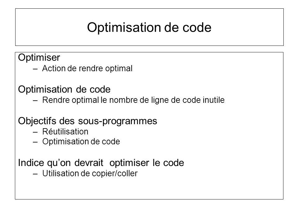 Optimisation de code Optimiser –Action de rendre optimal Optimisation de code –Rendre optimal le nombre de ligne de code inutile Objectifs des sous-pr