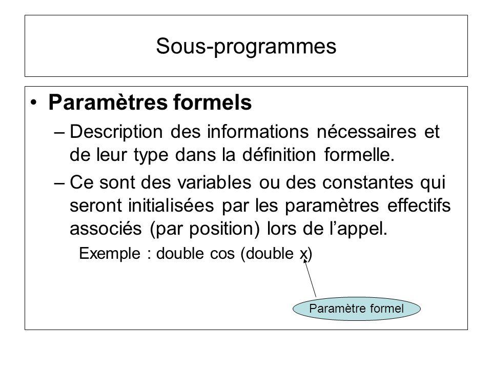 Paramètres formels –Description des informations nécessaires et de leur type dans la définition formelle. –Ce sont des variables ou des constantes qui