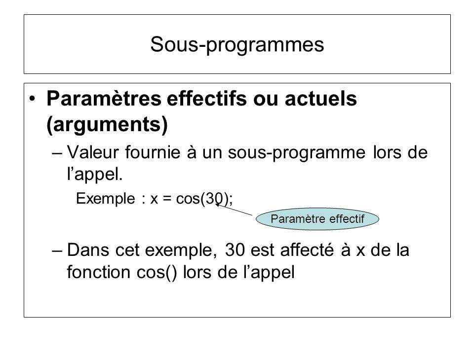 Paramètres effectifs ou actuels (arguments) –Valeur fournie à un sous-programme lors de lappel. Exemple : x = cos(30); –Dans cet exemple, 30 est affec