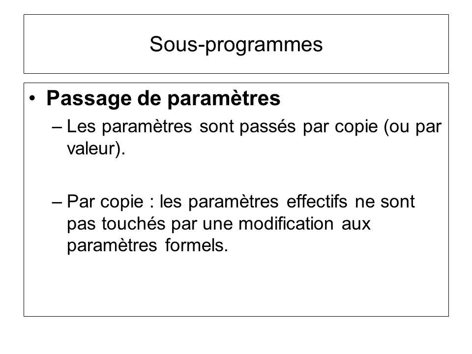 Sous-programmes Passage de paramètres –Les paramètres sont passés par copie (ou par valeur). –Par copie : les paramètres effectifs ne sont pas touchés