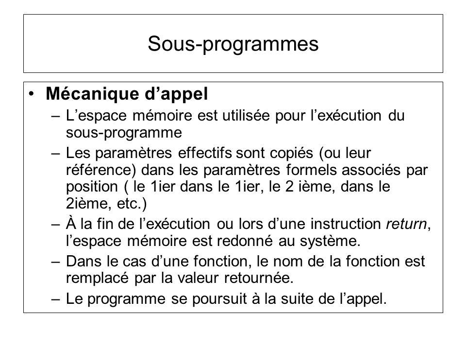Exemple : int y = cos(0) int y = 1 1.Espace mémoire est crée pour la fonction et les paramètres formels 2.Paramètres effectifs sont copiés dans les paramètres formels associés par position 3.Le code écrit dans la fonction sexécute 4.Valeur retournée prend la place du nom de la fonction 5.Espace mémoire redonné au système 6.Programme se poursuit à la suite de lappel 7.