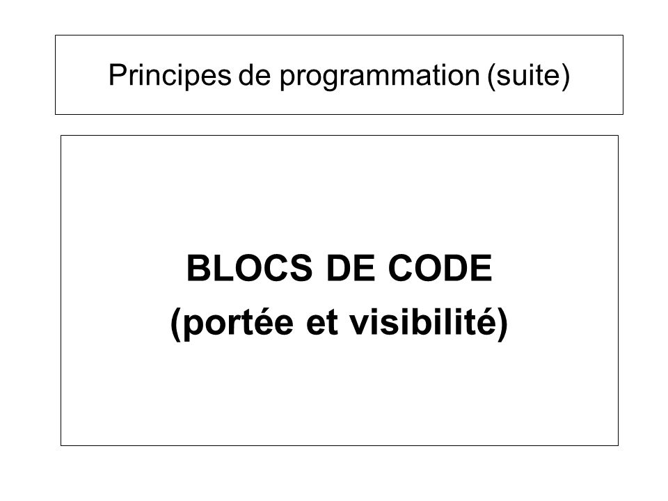 Bloc de code –délimité par des accolades –contient des instructions –peut contenir des déclaration de variables –peut contenir dautres blocs de code Exemple : { int i; i = 5; while( i < 10) { System.out.println(i); } } Sous-programmes