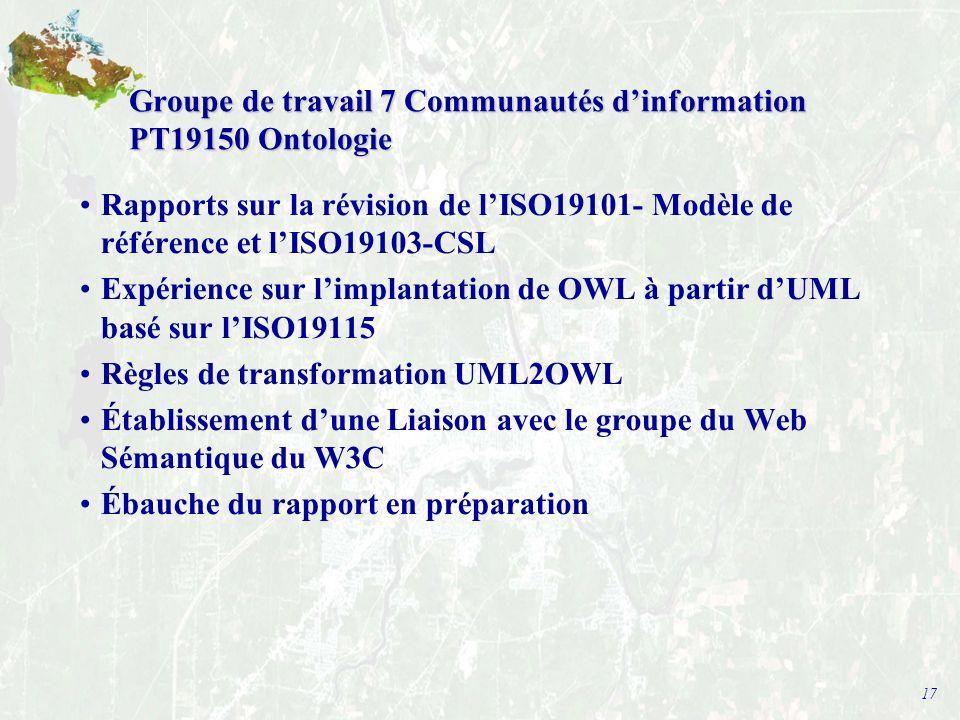 17 Groupe de travail 7 Communautés dinformation PT19150 Ontologie Rapports sur la révision de lISO19101- Modèle de référence et lISO19103-CSL Expérience sur limplantation de OWL à partir dUML basé sur lISO19115 Règles de transformation UML2OWL Établissement dune Liaison avec le groupe du Web Sémantique du W3C Ébauche du rapport en préparation