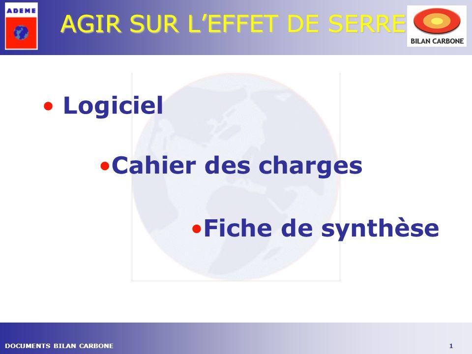 1DOCUMENTS BILAN CARBONE AGIR SUR LEFFET DE SERRE Logiciel Cahier des charges Fiche de synthèse