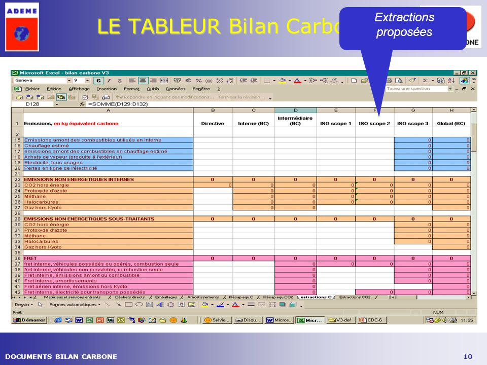 10DOCUMENTS BILAN CARBONE LE TABLEUR Bilan Carbone ® Extractions proposées
