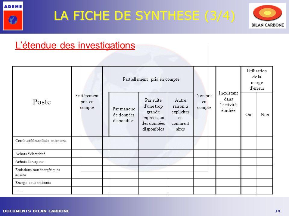 14DOCUMENTS BILAN CARBONE LA FICHE DE SYNTHESE (3/4) Poste Entièrement pris en compte Partiellement pris en compte Non pris en compte Inexistant dans