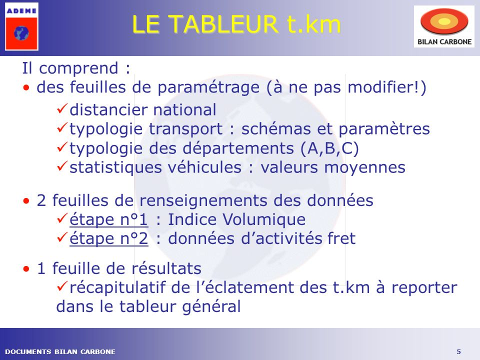 5DOCUMENTS BILAN CARBONE LE TABLEUR t.km Il comprend : des feuilles de paramétrage (à ne pas modifier!) distancier national typologie transport : sché