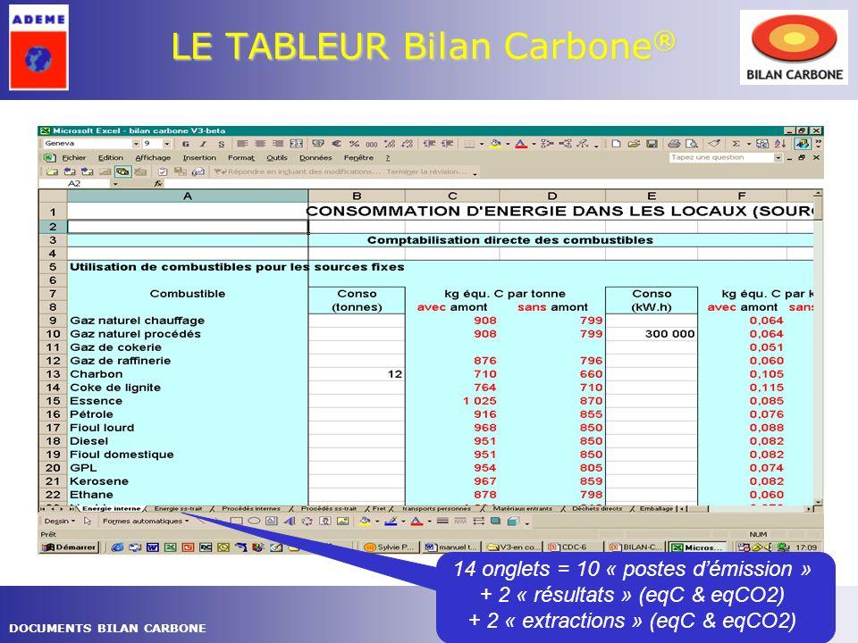 7DOCUMENTS BILAN CARBONE LE TABLEUR Bilan Carbone ® Exemple de résultats pour 1 poste