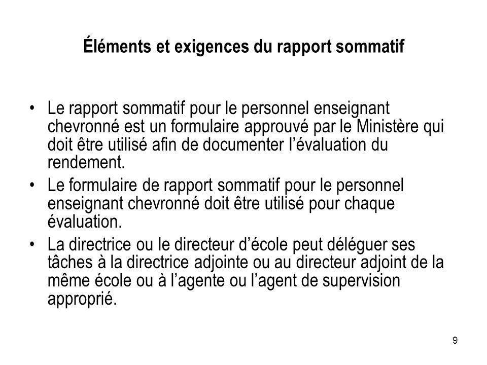 9 Éléments et exigences du rapport sommatif Le rapport sommatif pour le personnel enseignant chevronné est un formulaire approuvé par le Ministère qui